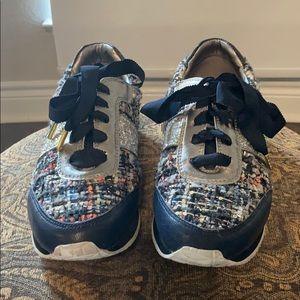 Kate spade navy and tweed sneakers